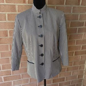 Chaps black and white striped jacket